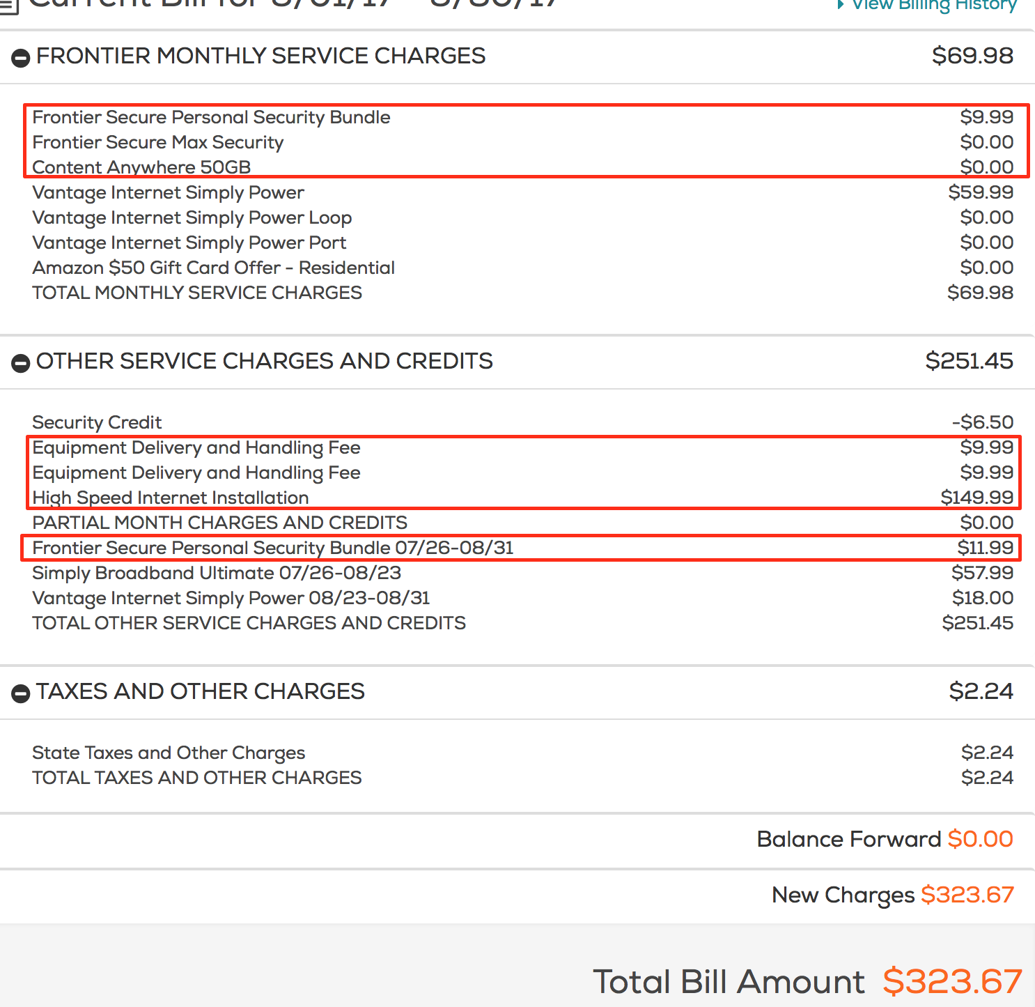 Frontier Communications bill with mistakes and bloat